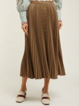 GUCCI Pleated houndstooth-wool skirt in brown