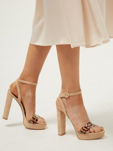 GIANVITO ROSSI Plexi 100 leopard strap platform sandals in beige suede ~ 70s style glamour - flipped