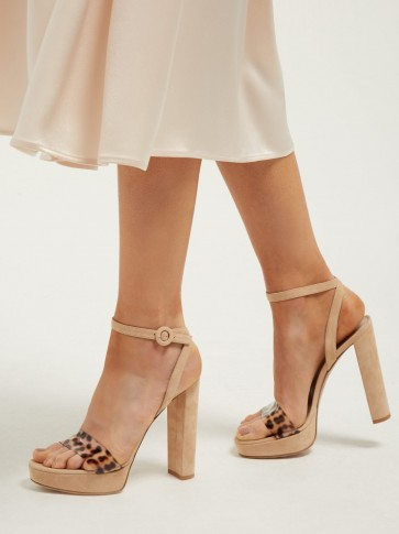 GIANVITO ROSSI Plexi 100 leopard strap platform sandals in beige suede ~ 70s style glamour