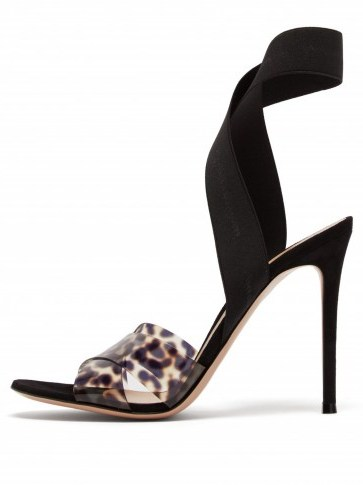 GIANVITO ROSSI Plexi 105 leopard-print sandals ~ PVC animal prints - flipped