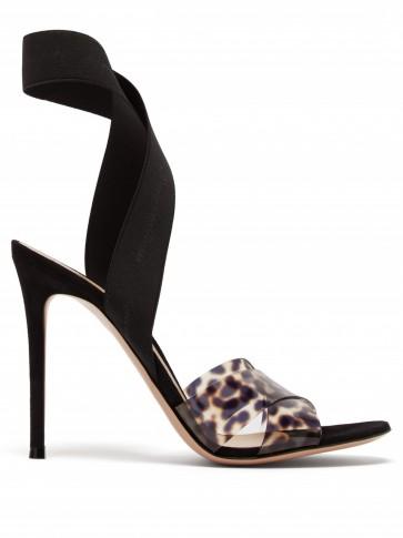 GIANVITO ROSSI Plexi 105 leopard-print sandals ~ PVC animal prints