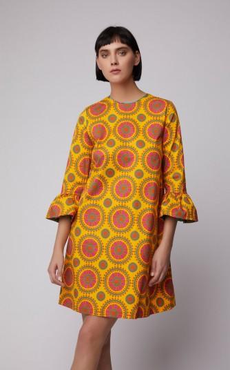 La DoubleJ Printed Cotton-Blend Shift Dress in Orange | retro print fashion