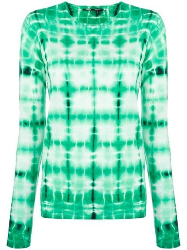 PROENZA SCHOULER tie-dye long sleeved top in malachite/white/black / green casual dyed top