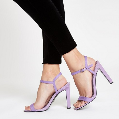 RIVER ISLAND Purple barely there sandals ~ strappy heels