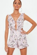 MISSGUIDED purple frill strap floral playsuit ~ keyhole front playsuits