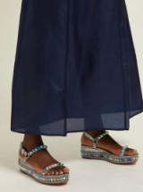 CHRISTIAN LOUBOUTIN Pyraclou 60 silver-leather flatform sandals ~ iridescent pyramid studded flatforms