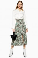 TOPSHOP Python Pleated Midi Skirt / snake prints
