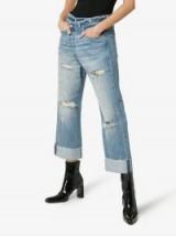 R13 Cross Over Waist Distressed Boyfriend Jeans | turned up hems | ripped denim