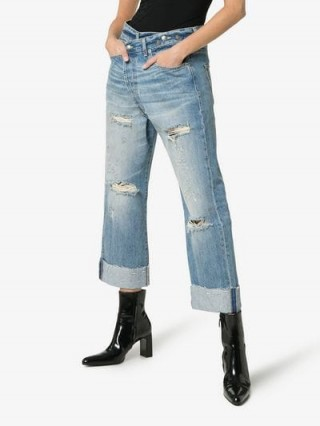 R13 Cross Over Waist Distressed Boyfriend Jeans | turned up hems | ripped denim