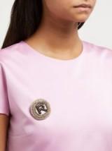 ROCHAS R logo crystal-embellished brooch ~ designer brooches