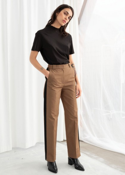 & other stories Racer Stripe Trousers in Beige ~ light-brown side striped pants