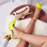 EGO Raina Strappy Court Heel In Neon Yellow Patent ~ bright stiletto heeled courts