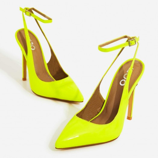 EGO Raina Strappy Court Heel In Neon Yellow Patent – bright slingbacks