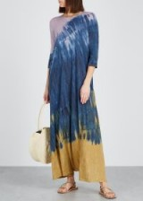 RAQUEL ALLEGRA Drama tie-dye jersey dress in purple, blue and gold / vacation maxi