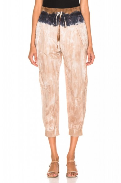 RAQUEL ALLEGRA Drawstring Pant in cave stripe in cave stripe ~ cropped designer jogger ~ tie dye trend