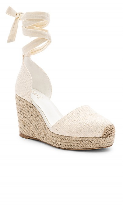 RAYE Dahlia White Espadrille | ankle wrap wedged heels