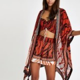 RIVER ISLAND Red zebra print embellished kimono. ANIMAL PRINT COVER-UP