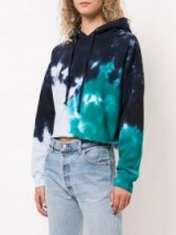 RE/DONE cropped tie dye hoodie in Teal / tie dyed hoodies