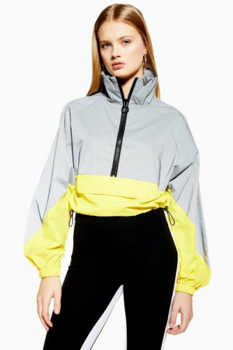 Topshop Reflective Windbreaker Jacket in Silver | casual colour block jackets