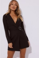 IN THE STYLE REGINA BLACK DIAMANTE BELTED BLAZER DRESS – LBD – GOING OUT JACKET DRESSES