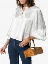 Rejina Pyo Brown Olivia Croc Print Leather Shoulder Bag in brown ~ chic little handbags