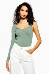 Topshop Ribbed One Sleeve Top in Green | asymmetric trend