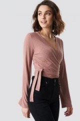 NA-KD Ribbed Wrap Tie Top Pink