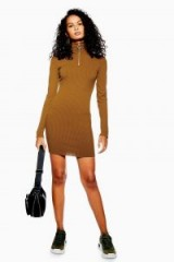 Topshop Ribbed Zip Jersey Dress in Brown | casual winter style dresses