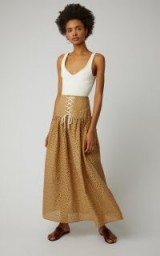 Marysia Swim Riviera Cotton-Eyelet Maxi Skirt in Brown | front corset style skirts