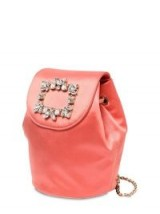 ROGER VIVIER TRIANON MINI PEACH SATIN BACKPACK W/ CRYSTALS – luxe backpacks/shoulder bags