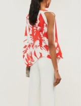 ROLAND MOURET Hopkins abstract-print crepe top in red painterly large / floral one sleeve blouse