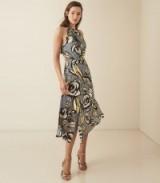REISS ROSE FLORAL PRINTED MIDI DRESS BLUE FLORAL ~ bold flower prints