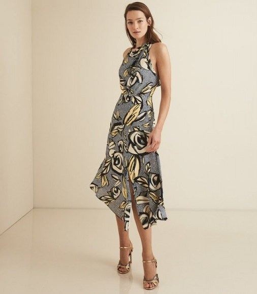REISS ROSE FLORAL PRINTED MIDI DRESS BLUE FLORAL ~ bold flower prints - flipped