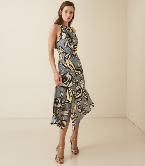 REISS ROSE FLORAL PRINTED MIDI DRESS BLUE FLORAL ~ bold flower prints