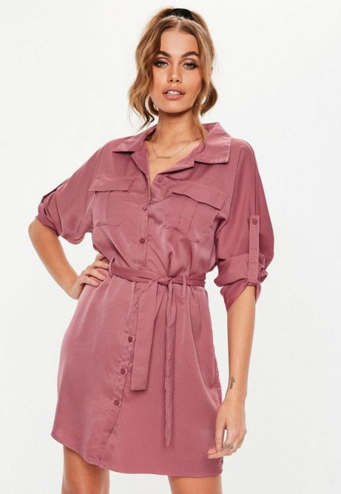 MISSGUIDED rose pink tie waist utility shirt dress ~ casual fashion