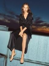 ROTATE ROBE VISCOSE SATIN MAXI DRESS in BLACK – effortless evening fashion