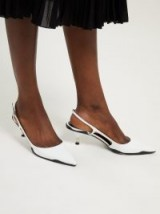 PRADA Curved rubber-sole slingback white leather pumps