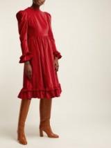 BATSHEVA Ruffle red velvet prairie midi dress   prairie dresses