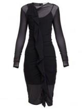 MAISON MARGIELA Ruffled mesh dress in black ~ fitted lbd
