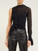 MAISON MARGIELA Ruffle-trimmed one-shoulder mesh top in black ~ contemporary feminine style clothing