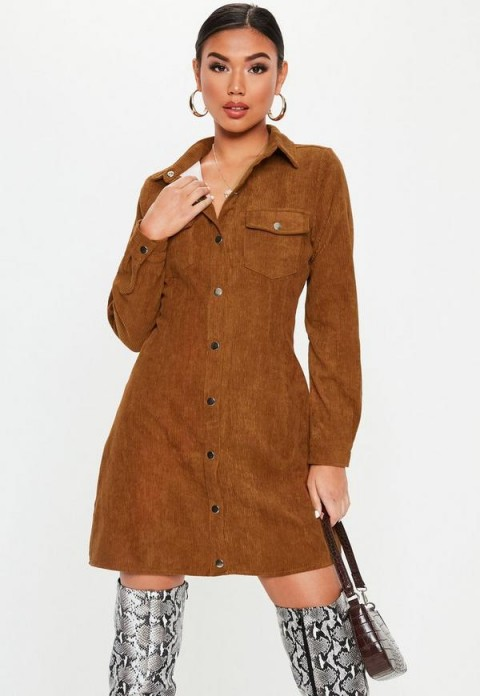 MISSGUIDED rust cord skater shirt dress ~ 70s style fashion ~ brown retro dresses