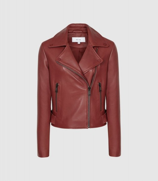 REISS SADIE LEATHER BIKER JACKET RED ~ casual luxe clothing