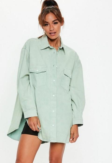 Missguided sage denim super oversized boyfriend shirt | light-green shirts