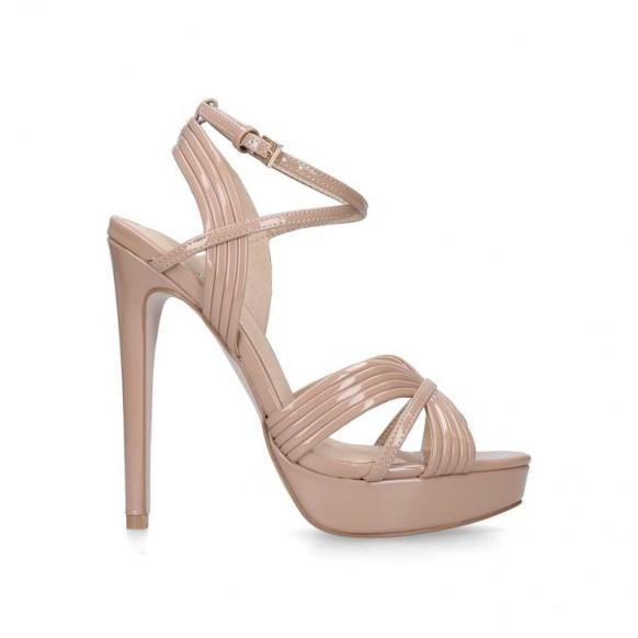 KG KURT GEIGER SAMMY Nude Stiletto Heeled Platform Sandals ~ 70s party platforms