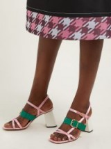 MARNI Pink satin and green patent leather block-heel sandals ~ retro strappy shoes