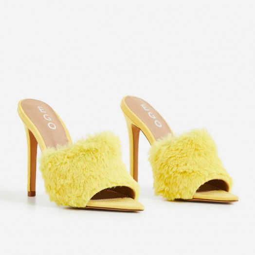 EGO Savage Faux Fur Heel Mule In Yellow Faux Suede – FLUFFY MULES