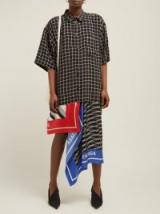 BALENCIAGA Scarf-panelled striped cotton shirtdress in black ~ mixed print shirt dress