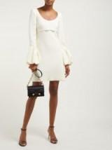 GIAMBATTISTA VALLI Scoop-neck bubble-cuff crepe mini dress in ivory ~ elegant evening silhouette