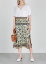 SEA NY Doe printed midi silk skirt in cream – pretty floral side split skirts