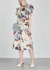 SEA NY Margherite ecru printed cotton dress – floral puff sleeved dresses